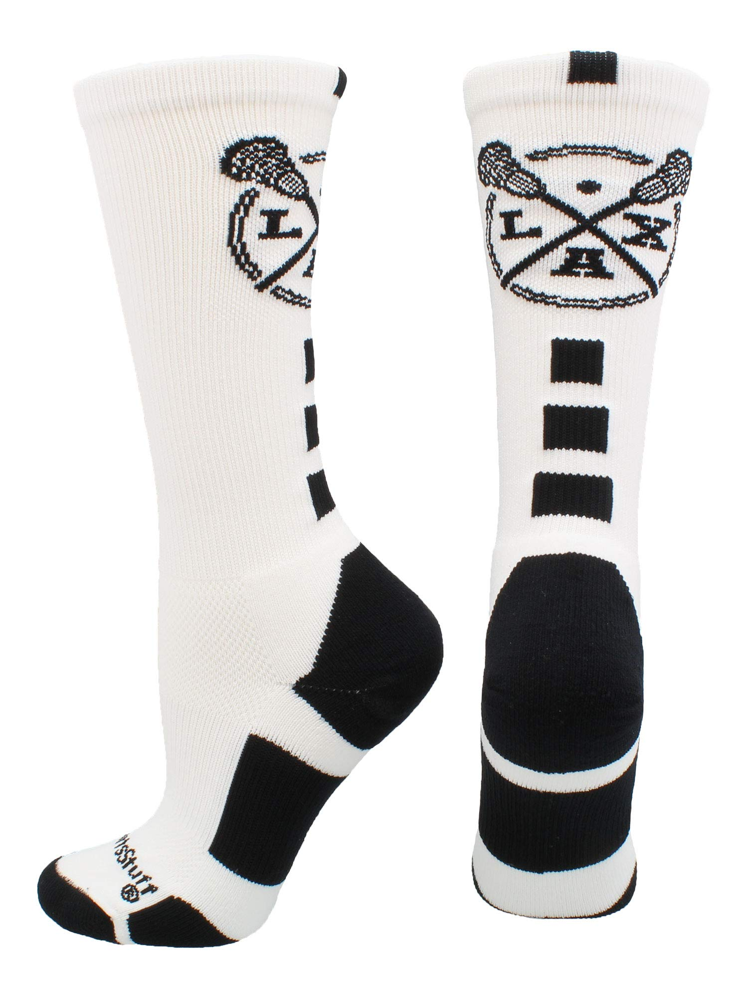 MadSportsStuff LAX Lacrosse Socks with Lacrosse Sticks Athletic Crew Socks (White/Black, Large) by MadSportsStuff