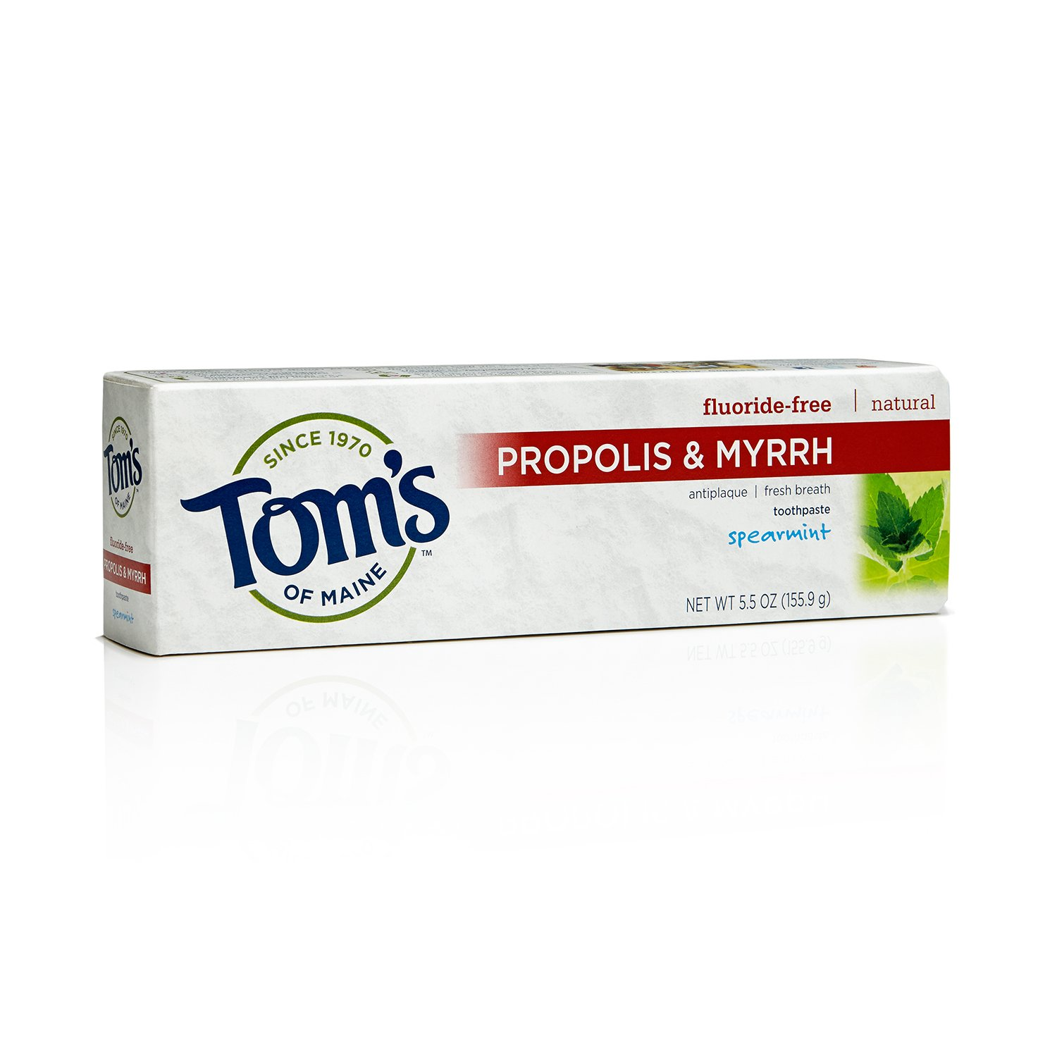 Tom's of Maine 683085 Fluoride-Free Natural Toothpaste with Propolis and Myrrh, Spearmint, 5.5 Ounce, 24 Count