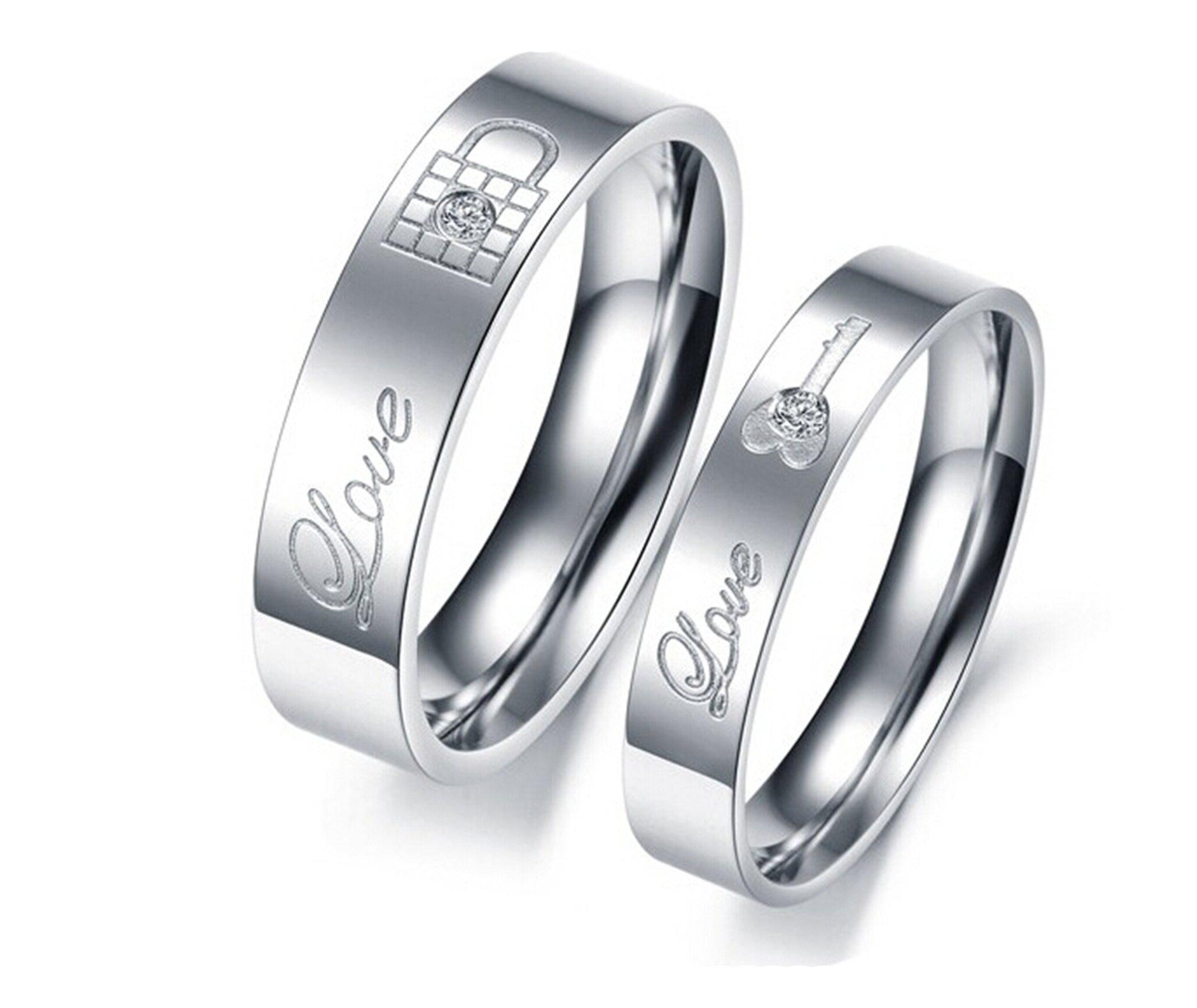 Daesar 1PCS Ring Stainless Steel Wedding Ring Engraving Love Cubic Zirconia White Lock Key Rings Commitment Couple Rings Silver Ring Size 9