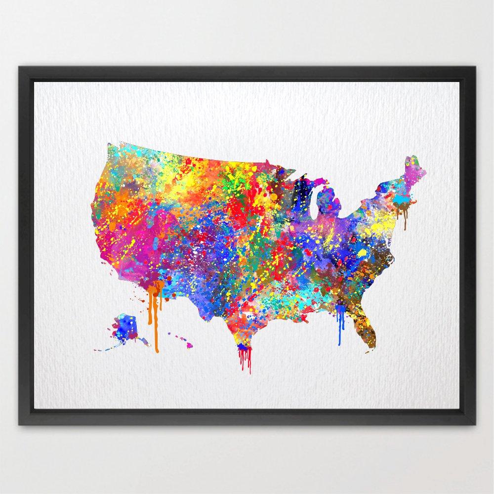 Dignovel Studios 8X10 Watercolor print United States Map Print USA Map Wedding Gift Childrens Wall Art Wall Decor Art Home Decor Wall Hanging Birthday Gift N097