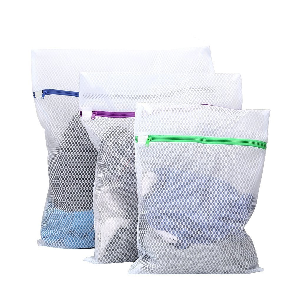 Tenn Well Mesh Washing Bags, Set of 3 Durable Coarse Mesh Laundry Bag with Zip for Curtain, Jeans, Clothes, Lingerie, Delicates, Bras, Socks, Baby Clothes (White)