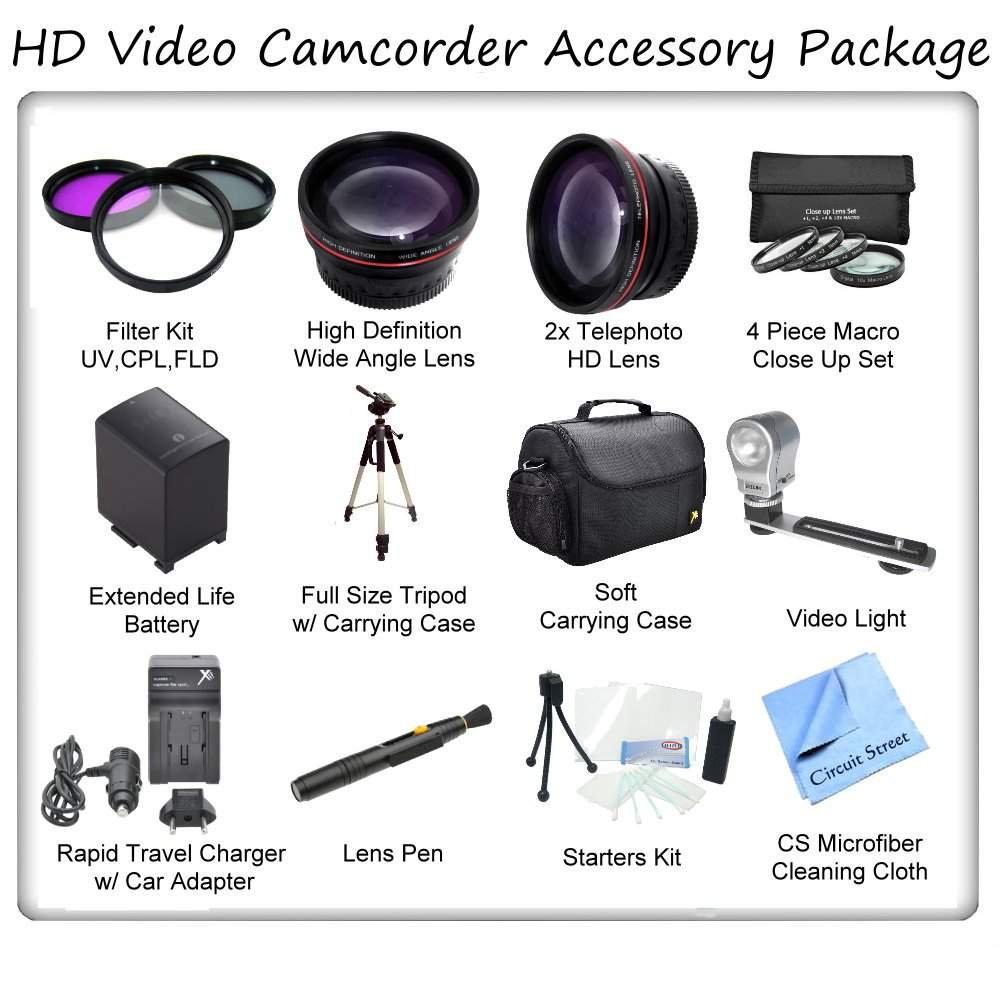 Ultimate HD Video Accessory Package For The Sony HVR-HD1000u Digital High Definition HDV Camcorder. Includes 3 Piece Filter Kit, Wide Angle Lens, Telephoto Lens, 4 Piece Macro Close Up Set, Soft Carrying Case, Full Size Tripod, Sony NP-F970 Replacement Ba