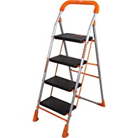Magna Homewares Advance Safety Technology Orange Series Pollux Heavy Duty Metal 4 Step Folding Ladder