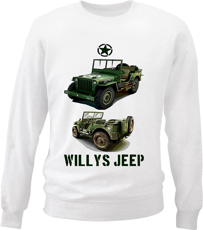 Teesquare1st Mens WILLYS JEEP USA 8 2 White Sweatshirt