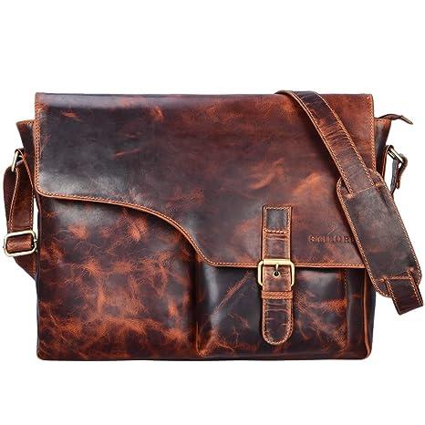 68818c27d8b4a STILORD  Valerian  Leder Umhängetasche Herren Messenger Bag Business Uni  Büro groß DIN A4 Laptoptasche