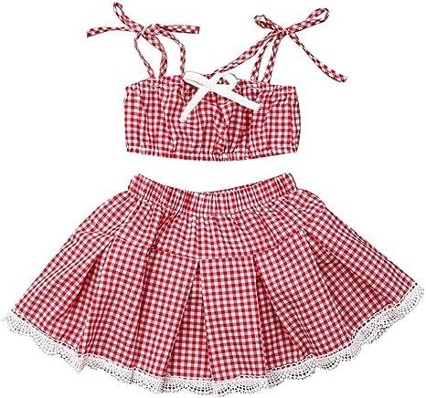 YESOT_Baby Girls Outfits Juego de Faldas a Cuadros con Tiras para ...