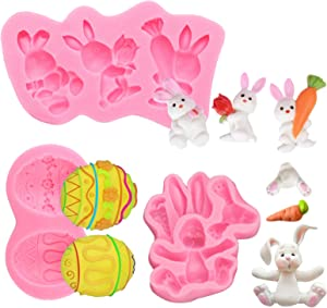 3 Pieces Easter Silicone Molds, Easter Egg Bunny Rabbit Shaped Silicone Fondant Molds, Non-stick Candy Molds DIY Baking Tools for Easter Day Chocolate, Cupcake Topper, Chocolate, Cake Decorations