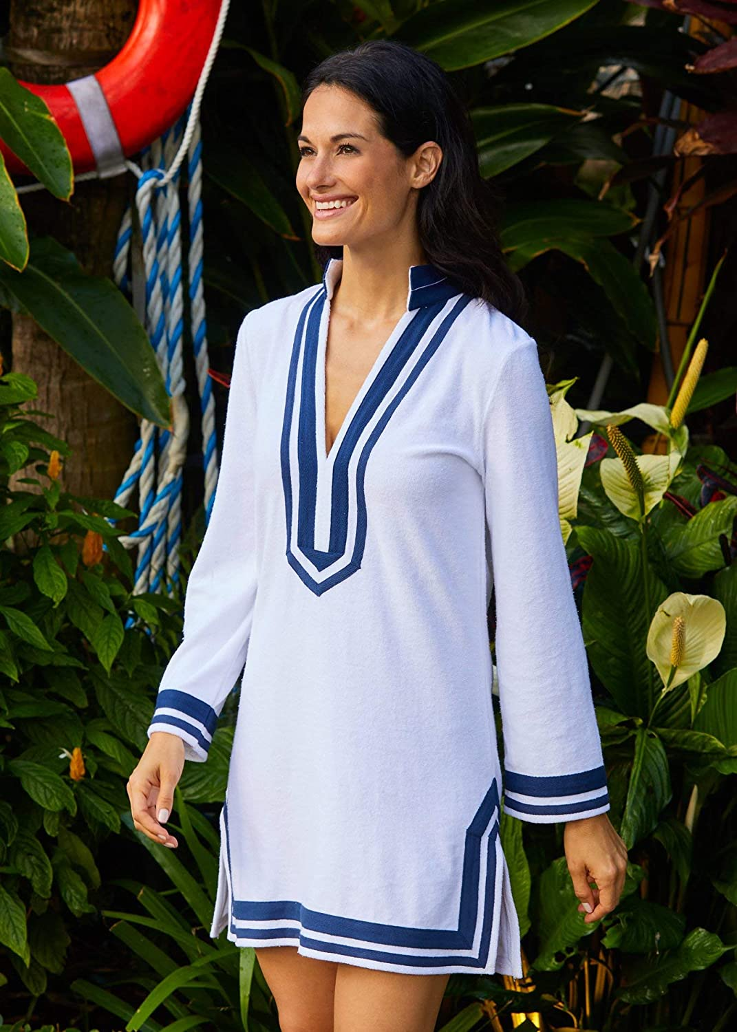 Cabana Life Swim Beach Cover Up White//Navy Striped Trim Extra Soft Terry Tunic Small Size