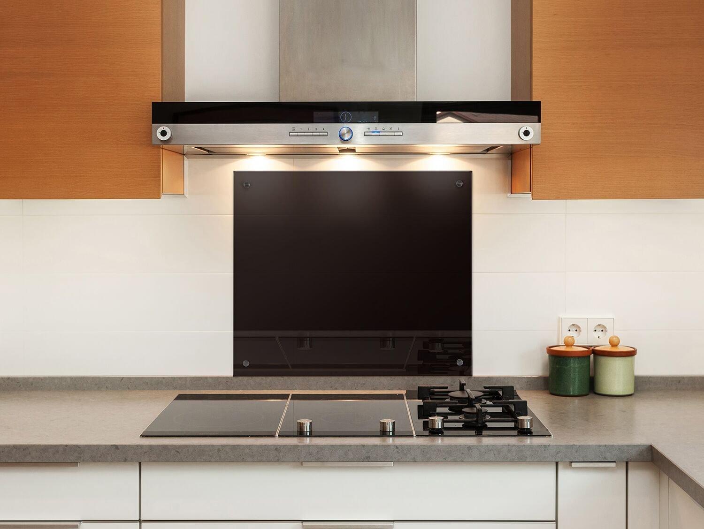 Küchenrückwand (80x60 cm, Schwarz) Sicherheitsglas Klarglas m. Nano ...