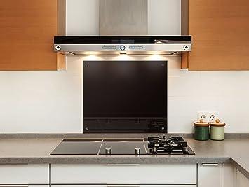Küchenrückwand (80x50 cm, Schwarz) Sicherheitsglas Klarglas m. Nano ...