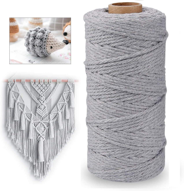 ADMIN Macrame Yarn 3 mm x 100 m Cotton Yarn Cotton Cord Macrame Yarn for DIY Crafts Wall Hanging Plant Hanger