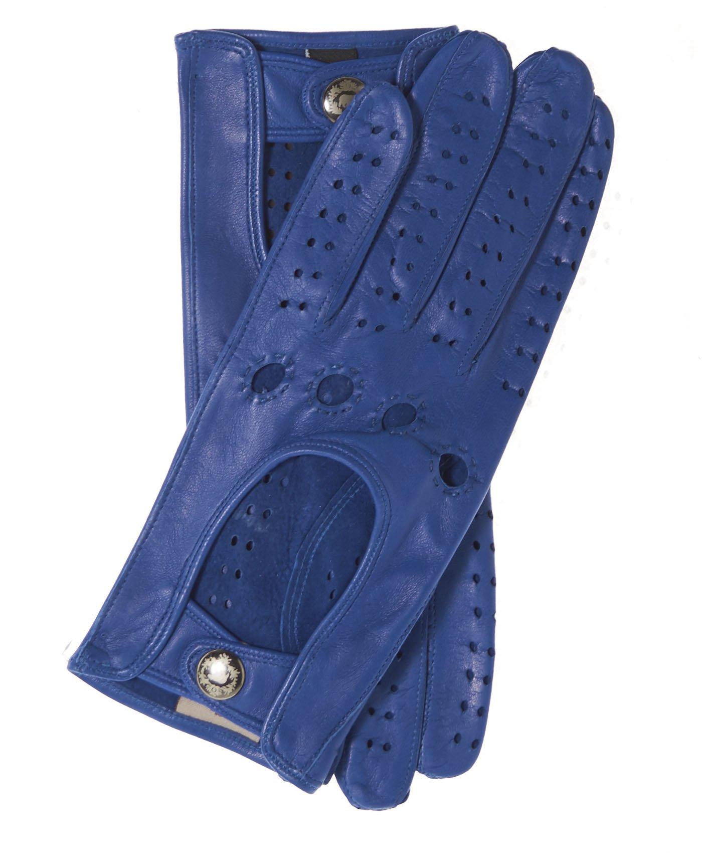 Fratelli Orsini Women's Italian Leather Driving Gloves Size 7 1/2 Color Blue