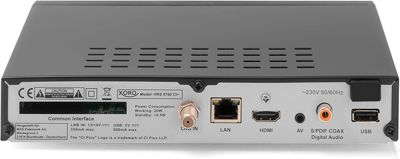 Xoro HRS 8760 Ci + Receptor de televisión satélite Digital Negro