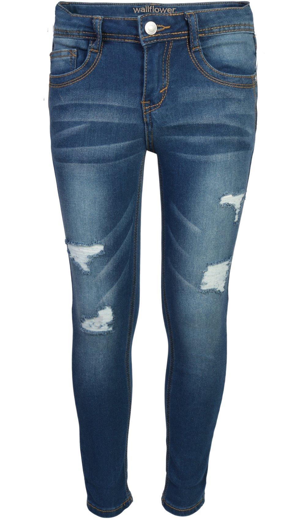 WallFlower Girl's Skinny Soft Strech Jeans, Dark Wash w/Rips, Size 8