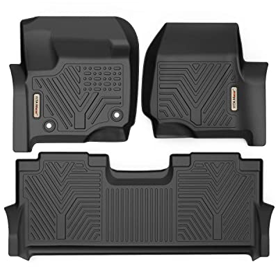 YITAMOTOR Floor Mats Compatible with F250/F350, Custom Fit Liners for 2020-2020 Ford F-250/F-350 SuperCrew Cab, 1st & 2nd Row All Weather Protection: Automotive