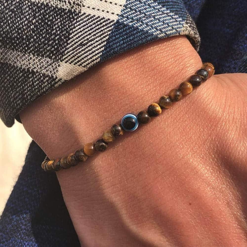 Pulsera De Piedra De Mujeres,7 Chakra Ojos De Tigre Brazalete De Piedra con Mal De Ojo Bead Bracelets Equilibrar La Energía Yoga Encanto Joyas para Hombres Anxity Amigo