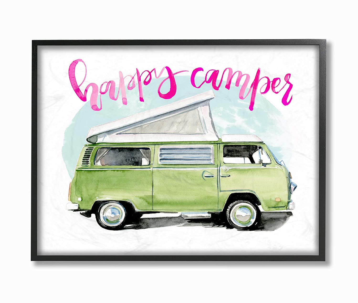 The Stupell Home Decor Happy Lime Green Camper Watercolor Framed Giclee Texturized Art 24 x 30 Multi-Color