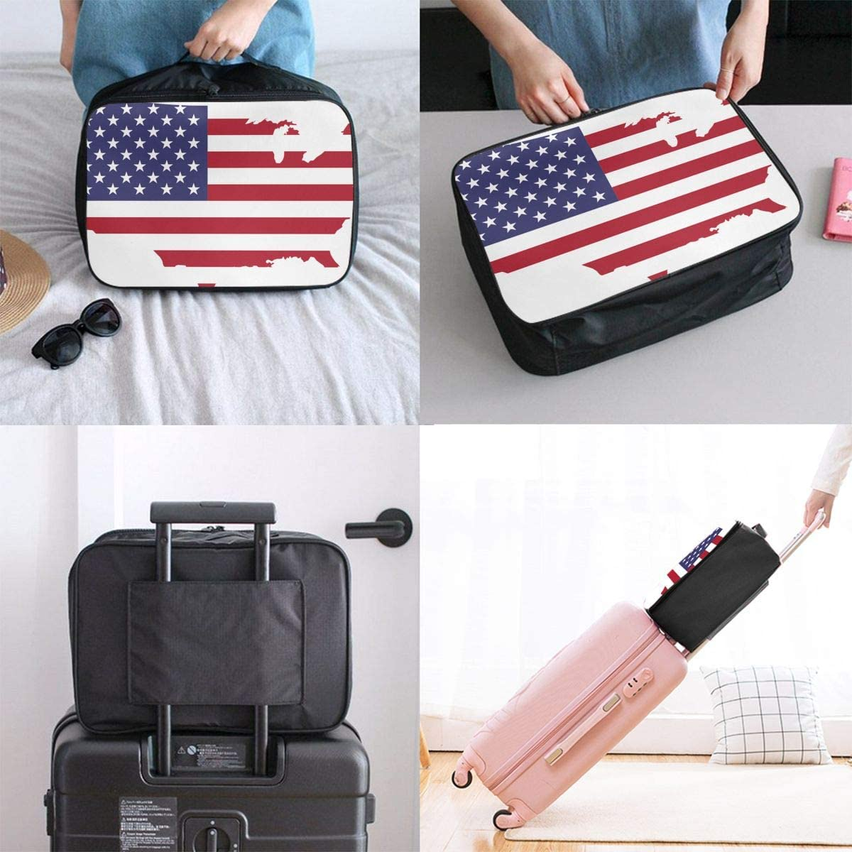 America Travel Carry-on Luggage Weekender Bag Overnight Tote Flight Duffel In Trolley Handle