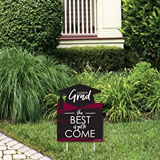 product image for Big Dot of Happiness Maroon Grad - Best is Yet to Come - Outdoor Lawn Sign - Burgundy Graduation Party Yard Sign - 1 Piece