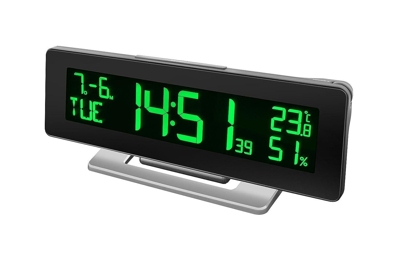 Bresser Tischuhr Funkuhr mit Wecker, Temperatur und Hygrometeranzeige für den Innenraum und 256 Farben Display mit 4 verschiedenen Farbmodi (automatisch, manuell, Regenbogen, temperaturabhängig) temperaturabhängig) 7007700CM3000