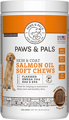 Paws Pals Wild Alaskan Salmon Fish Oil Omega 3 6 for Dogs and Cats – Anti Itch Skin Coat Allergy Support – Hip Joint Natural Arthritis Dog Supplement in Liquid or Chew Bite Treats