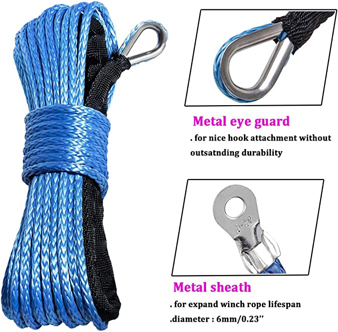 Red Heavy Duty Half-Linked Hook for Truck ATV UTV KFI Astra Depot 50 x 1//4 RED 7000lbs Strong Synthetic Winch Rope Rock and All Heat Guard Rubber Stopper