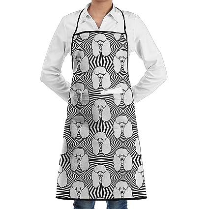 swsw Hombres y Mujeres Dibujos Animados caniche cachorros arte delantal de cocina Chef delantales Ajustable Con