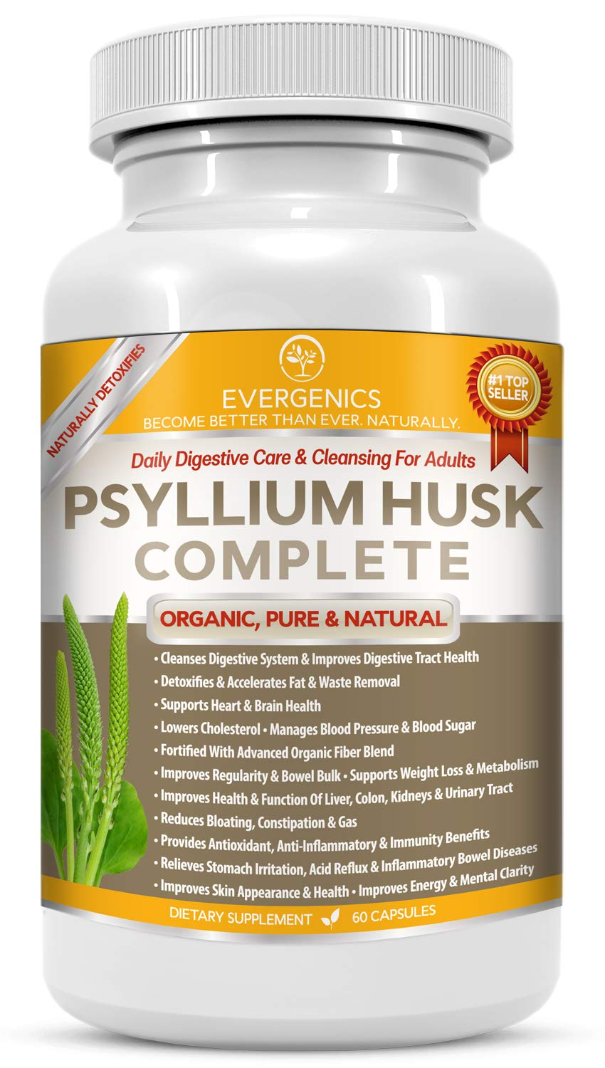 Evergenics Organic Psyllium Husk. Complete Daily Digestive Cleansing. Improves Heart, Digestive and Total Health. Flushes Cholesterol, Toxins and Fat. with Fiber, Digestive Enzymes and Prebiotics. by Evergenics Health and Personal Care