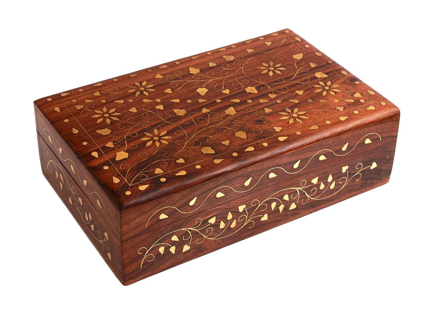Hand Crafted Wooden Decorative Trinket Jewelry Box Organiser with Mughal Inspired Floral Carvings & Brass Inlay-Centre Flower by Super India Artisan of India