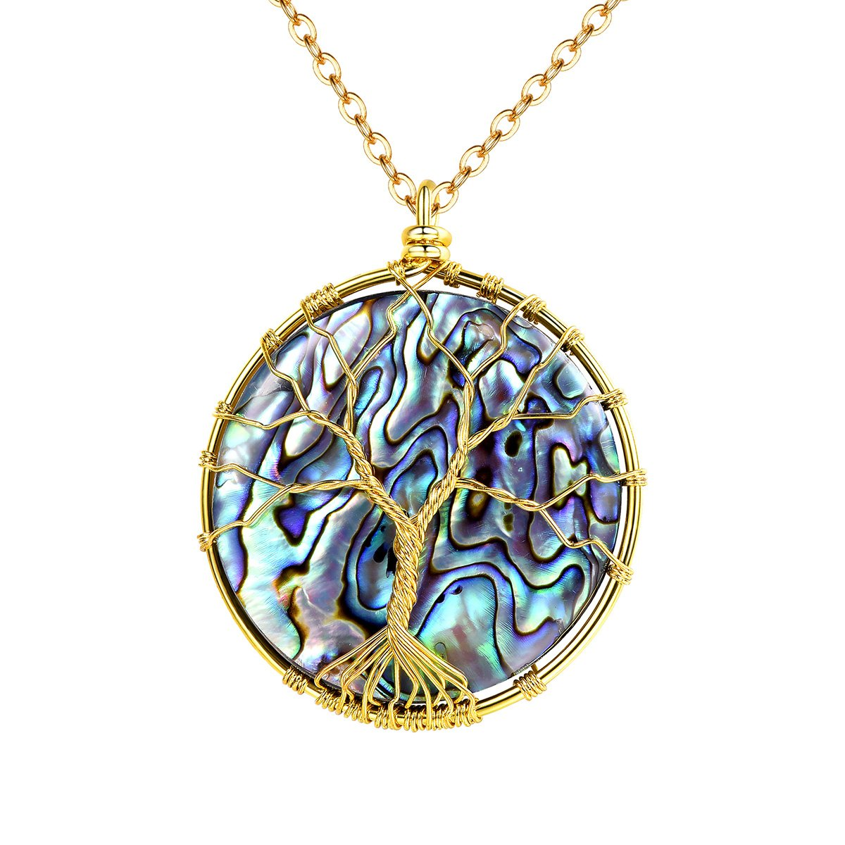 FOCALOOK Fashion Jewelry Wire Wrapped Tree of Wisdom Life Pendant Handmade Natural Charm Gemstone Abalone Bead Necklace FOCALOOK JEWELRY FP9057K-USA