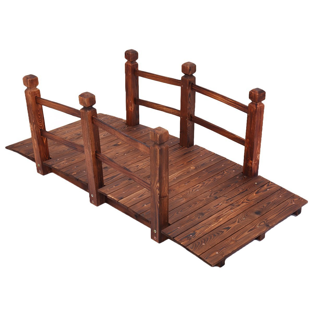 JAXPETY 5'' Wooden Bridge Stained Finish Decorative Solid Wood Garden Pond Arch Walkway w/Railings by JAXPETY (Image #1)