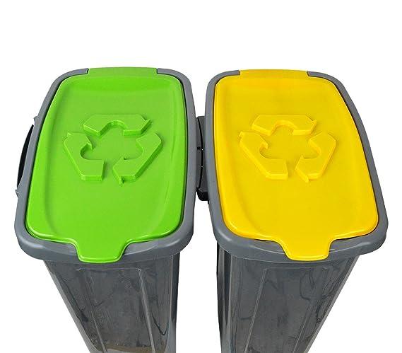 345146 Set de 3 cubos de reciclaje -cartón, plástico y vidrio- de 35 LT: Amazon.es: Hogar