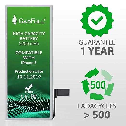GadFull Batería de Alta Capacidad de reemplazo para iPhone 6 ...