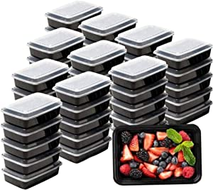 Meal Prep Containers Microwave Freezer Safe Food Storage Containers Plastic Food Prep Lunch Containers With Lid, Bento Box by SEWTCO (Black Container, 16oz 24 pack)