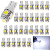 AMAZENAR 30-Pack White Replacement Stock #: 194 T10 168 2825 W5W 175 158 Bulb 5050 5 SMD LED Light,12V Car Interior Lighting for Map Dome Lamp Courtesy Trunk License Plate Dashboard Parking Lights
