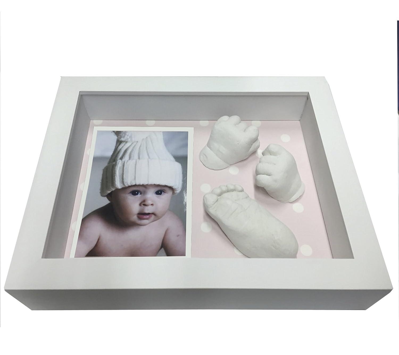 Marco con material Huellas del Bebe D Pie o Mano Fondo Rosa