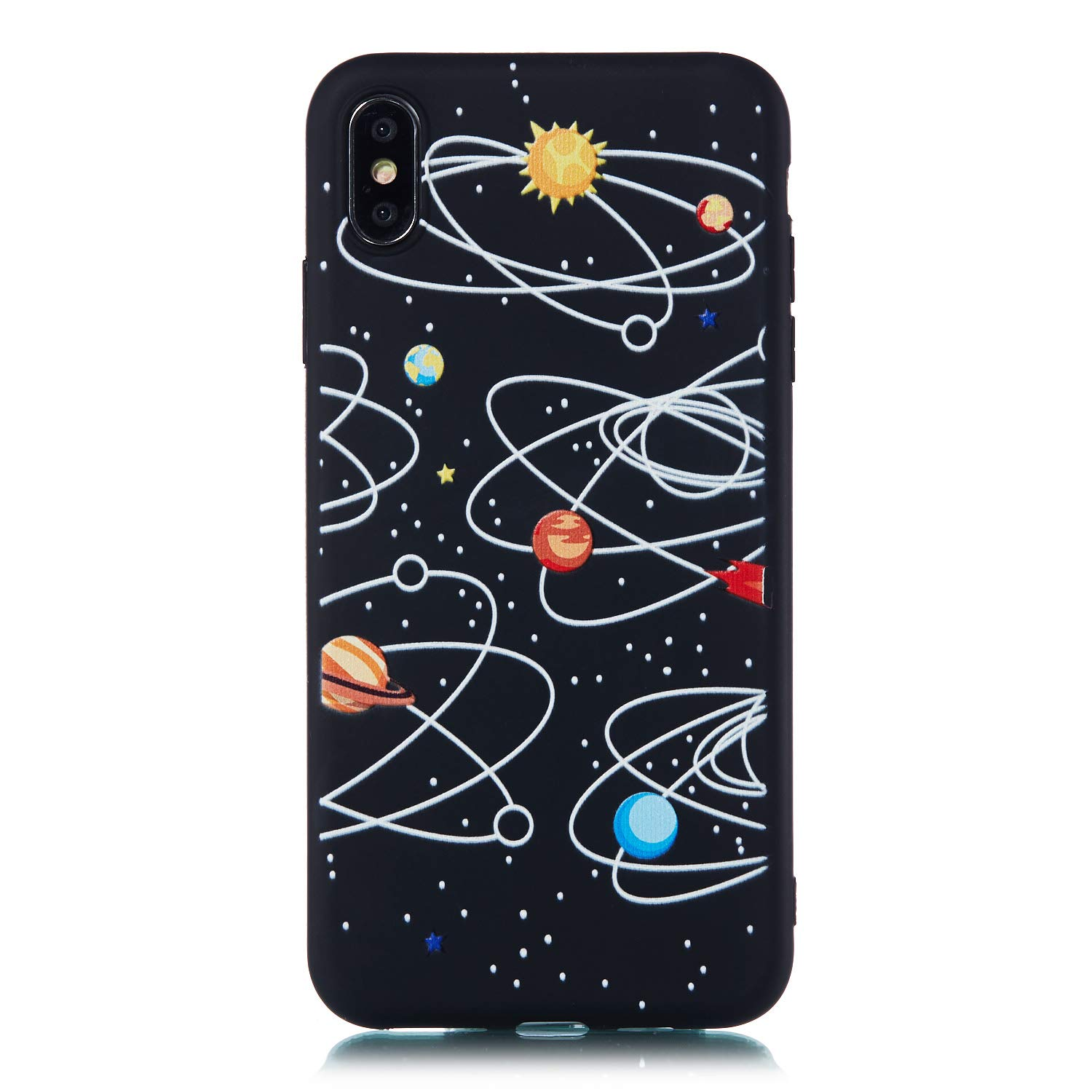 Yobby Case for iPhone Xs,iPhone X Case,Black Soft Silicone Night Sky Series Phone Case with Cute Astronaut Pattern Design Slim Flexible Rubber TPU Shockproof Back Cover