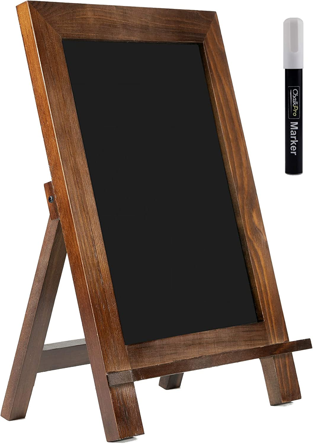 ChalkPro Wooden Framed Standing Chalkboard Sign (Rustic Brown) + Includes White Chalk Marker   Magnetic Non-Porous Memo Board   Décor for Kitchen, Home, Bar, Countertop, Wedding, Café, and Restaurant
