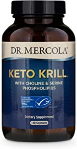 Dr. Mercola, Keto Krill Oil Supplement, 90 Servings (180 Capsules),Omega 3 Fatty Acids, MSC Certified, Non GMO, Soy-Free, Gluten Free
