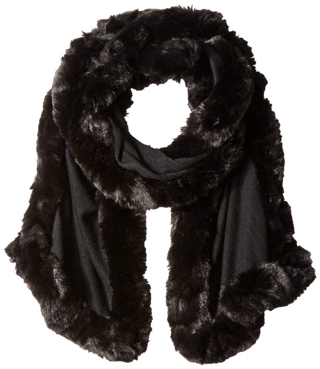 Badgley Mischka Women's Knit Wrap Scarf With Faux Chinchilla Trim, black/black, One Size