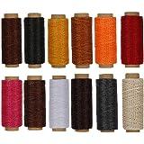 RMTIME 蝋引き糸 ロウ引き糸 ワックスコード カラフル 12色セット 各50m 手縫い DIY 紐 糸 革 レザークラフト 1mm直径