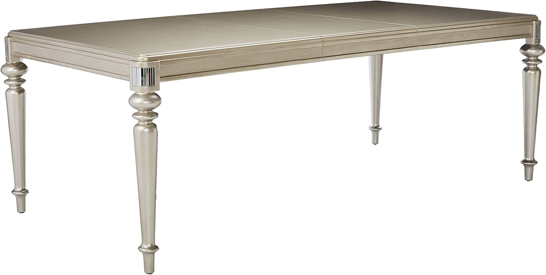 Danette Rectangular Dining Table with Leaf Metallic Platinum
