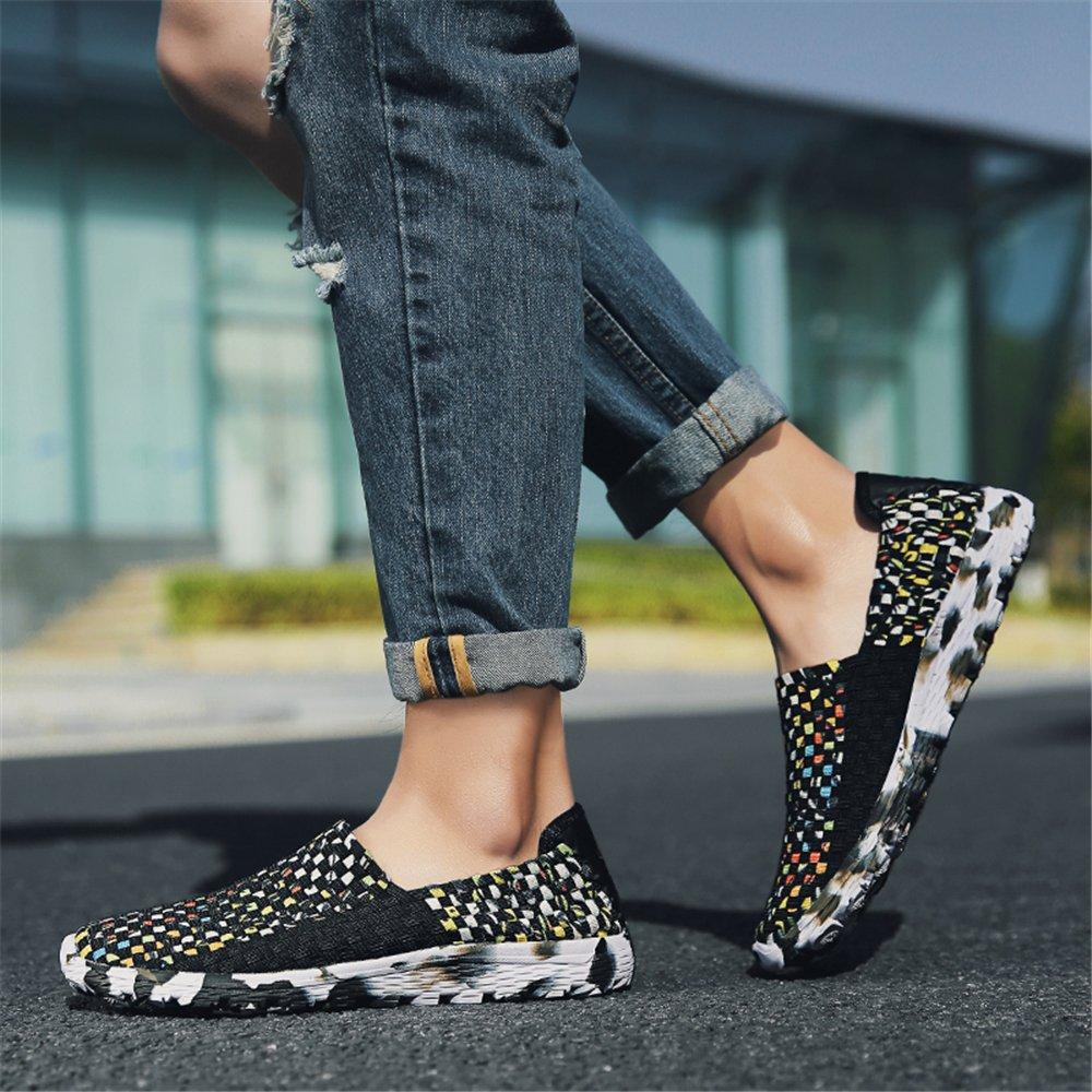 AIRAVATA Chaussures pour Femmes Été Glisser sur Respirant Poids Léger Mode Chaussures de Marche Noir1