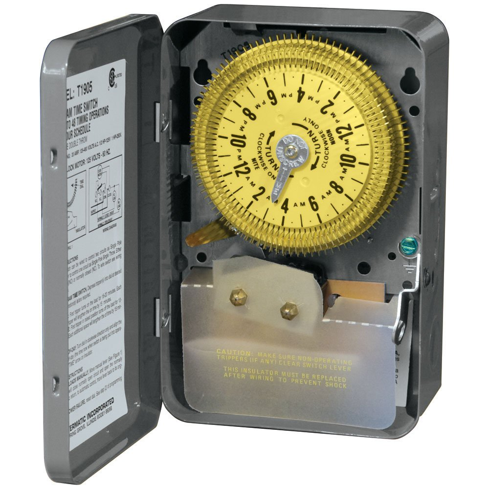 Intermatic T1905 SPDT 24 Hour 125-Volt Time Switch with 3R Indoor Steel Enclosure