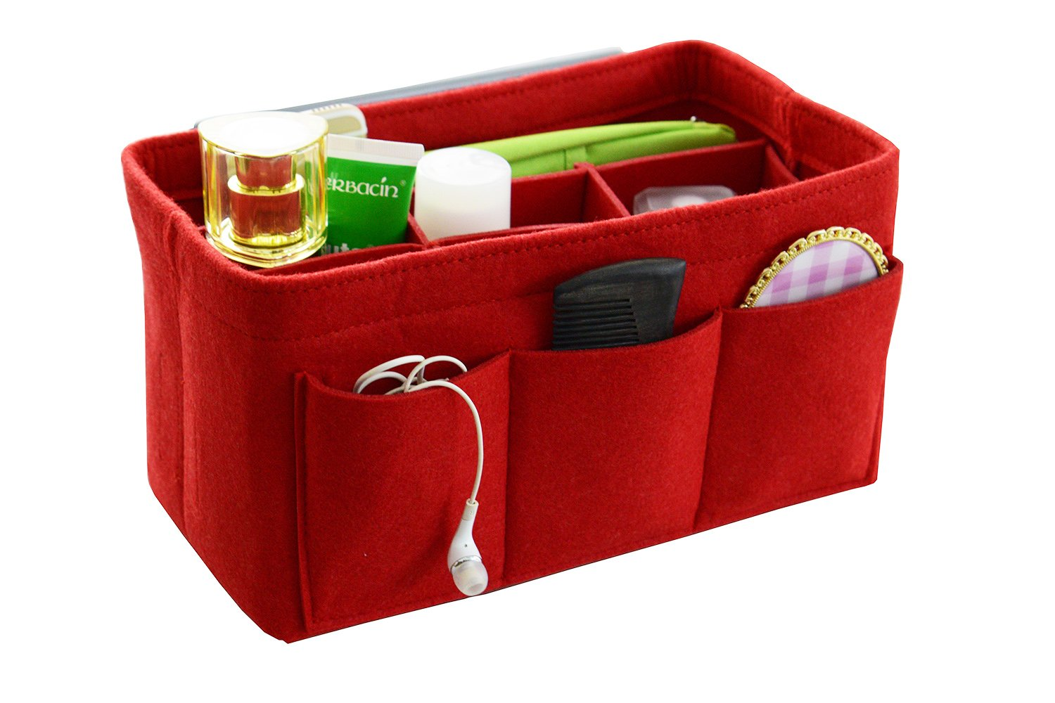 Felt Fabric Handbag Organizer,Insert Purse Organizer 12 Pockets Structure Shaper 4 size Red Small