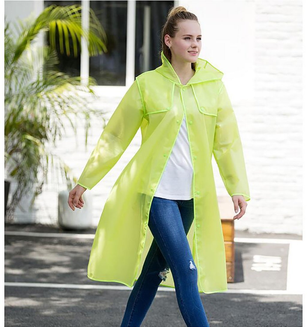 ZIXUAN Raincoat Female Adult Raincoat Outdoor Trekking Raincoat Translucent Adult Raincoat ( Color : Green , Size : XXL )
