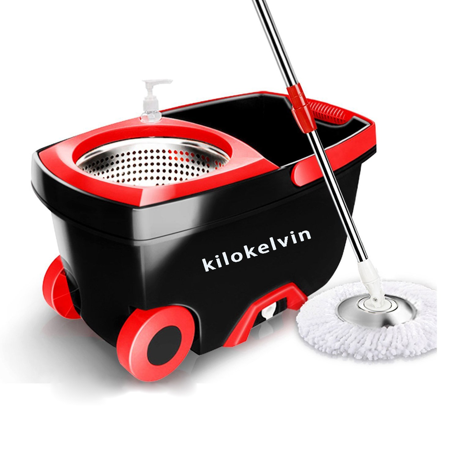 kilokelvin 360 Spin Mop Bucket with 2 Extra Microfiber Head Refills 2x Wheels 61inch Extended Handle Stainless Steel Drainage Basket for Home Floor Cleaning