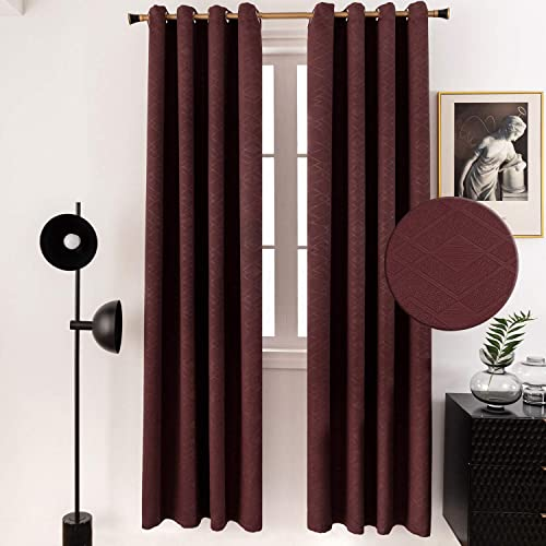 PU MEI Thermal Insulated Blackout Curtains Diamond Print Room Darkening Window Drapes with Grommets,1Pair,52 95 ,Dark Red