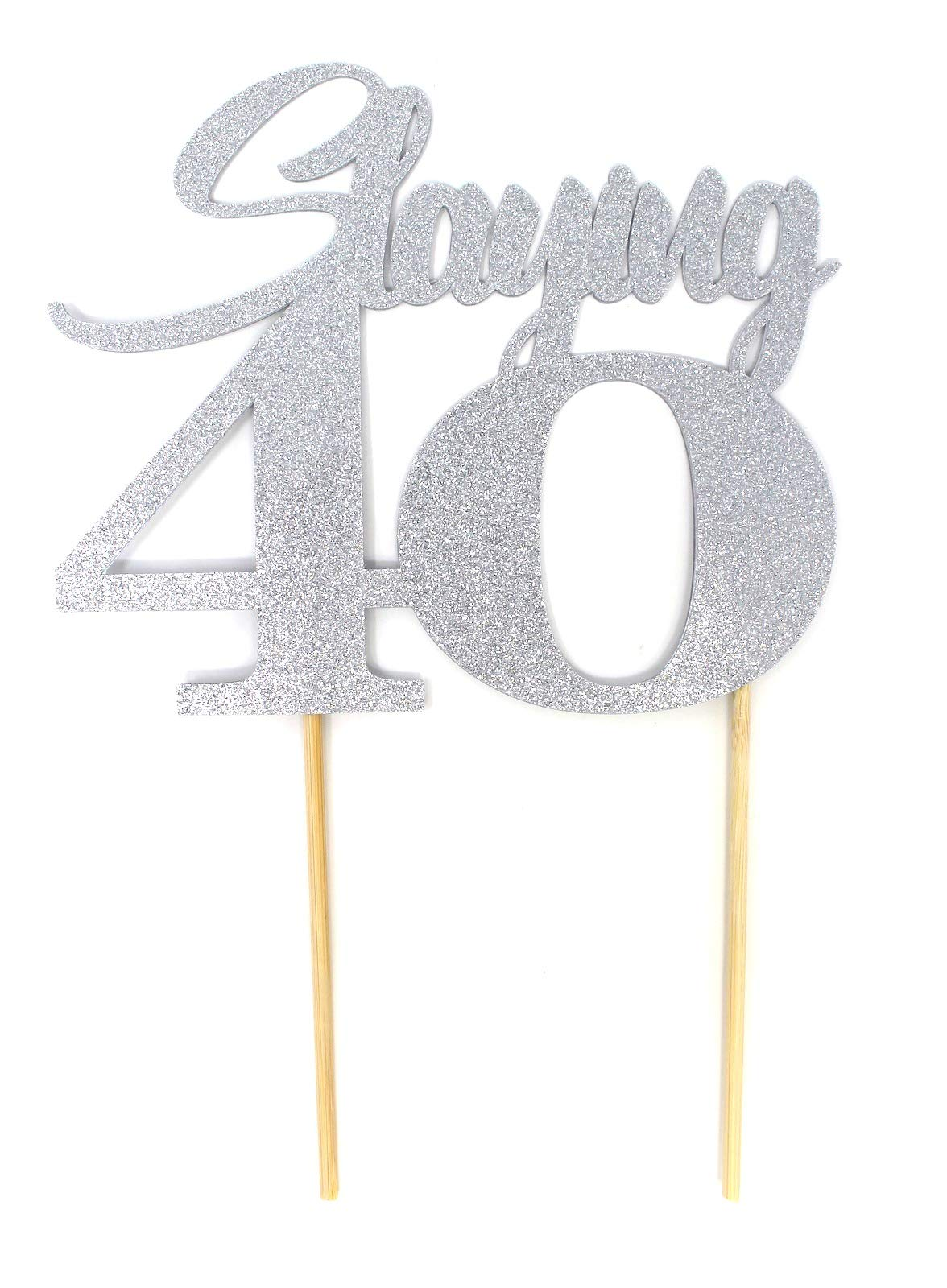 All About Details Slaying 40 Cake Topper, 1pc, 40th birthday, party decor (Silver)