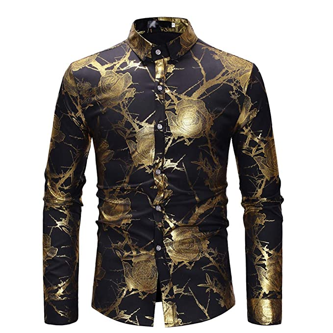 1a51402b5 Printing Mens Long Sleeve Spring Plus Size Casual Top Blouse Shirts Black